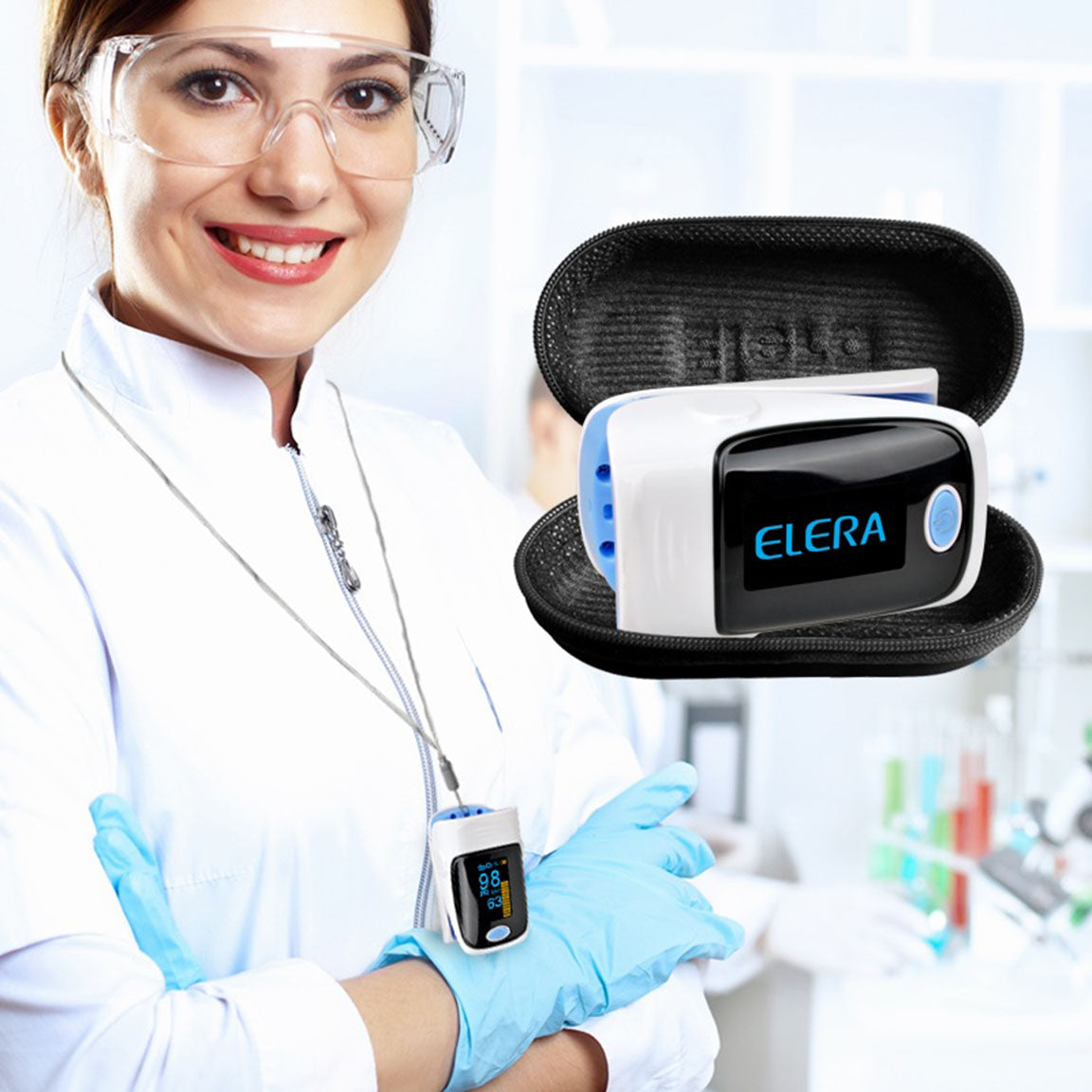 Digital Finger Pulse Oximeter With Carrying Case