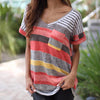 Pocket Top Women v Neck T Shirts