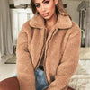 Casual Long Sleeve Faux Fur Teddy Jacket