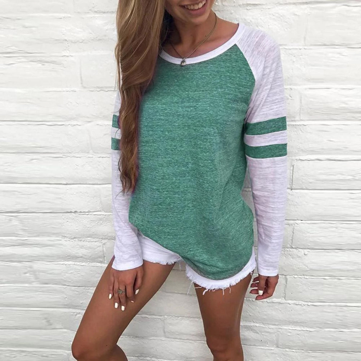 Striped Raglan Color Block Top