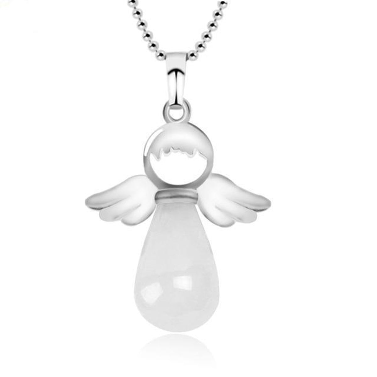 Natural Stone Guardian Angel Wings Necklace