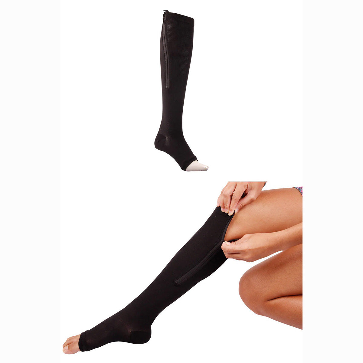 Women's Leg Support  Zip up Compression Socks