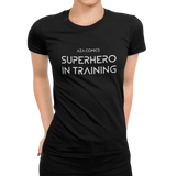Aza Comics Superhero in training workout t-shirt