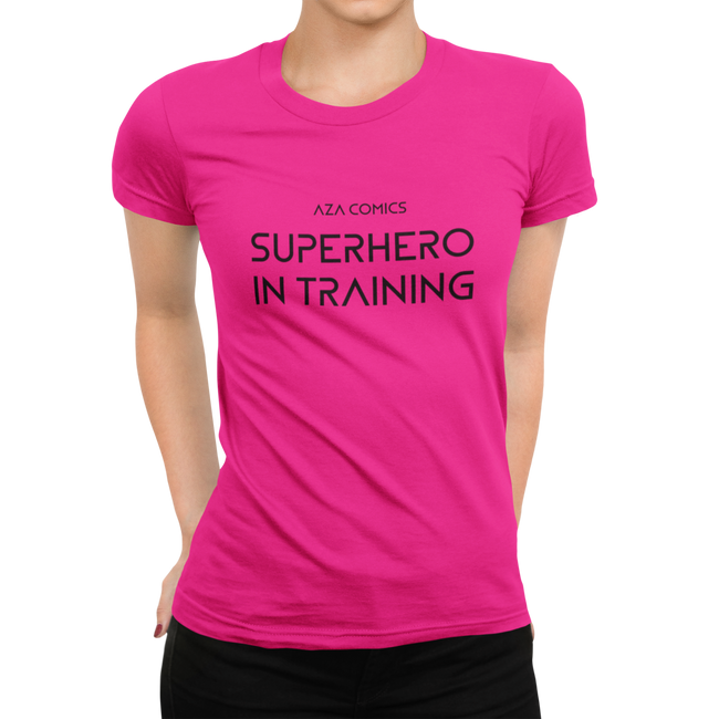 Aza Comics pink Superhero in training fitness t-shirt