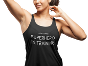 Aza Comics Superhero In Training Racerback Exercise Tee