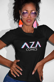 Aza Comics Cyberpunk Glitch Logo Women's Graphic Tee