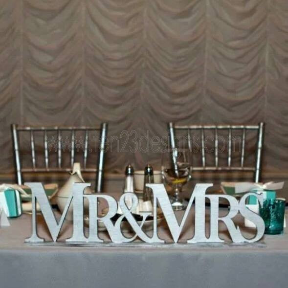Wooden Mr and Mrs Wedding Table Sign