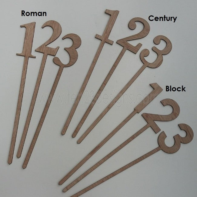Numeric Wooden Wedding Table Numbers Centerpiece Sticks