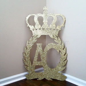 Crown & Wreath Initial Wooden Sign
