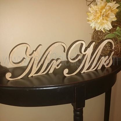 Mr and Mrs Wooden Wedding Table Signs
