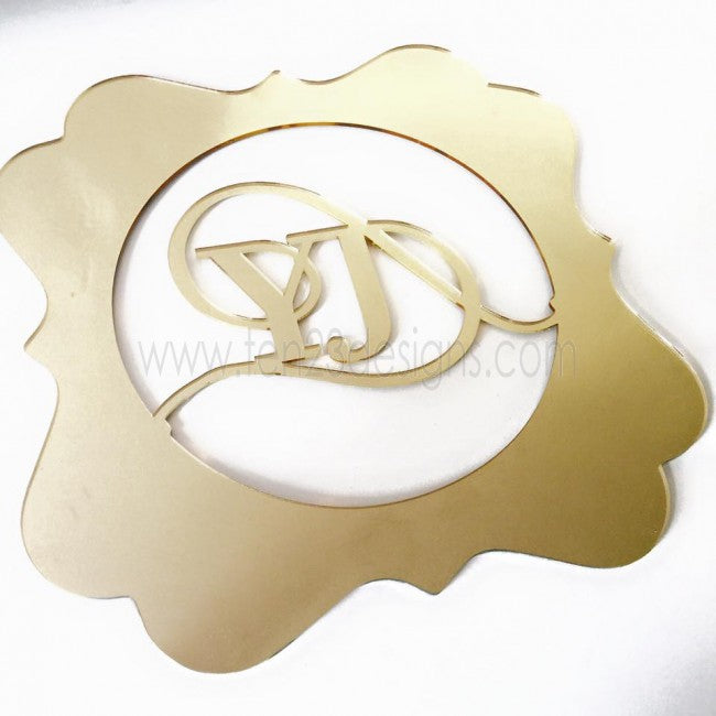 Acrylic Mirror Monogram Charger Placemat