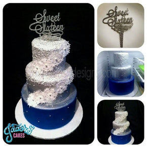Personalized Scroll Design Cake Topper