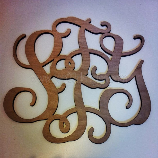 "1/4"" Thick Wooden Interlocking {FAMILY} Monogram"
