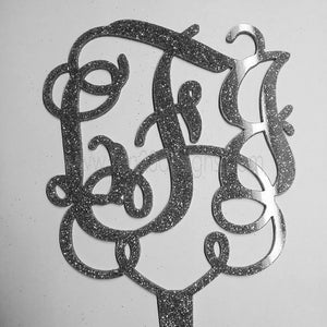 Monogram Scroll Cake Topper