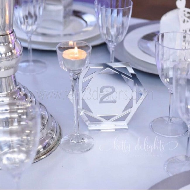 Geometric Engraved Free Standing Wedding Table Numbers