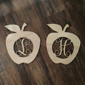 Wooden Personalized Initial Apple
