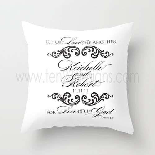 Let Us Love One Another Monogram Throw Pillow