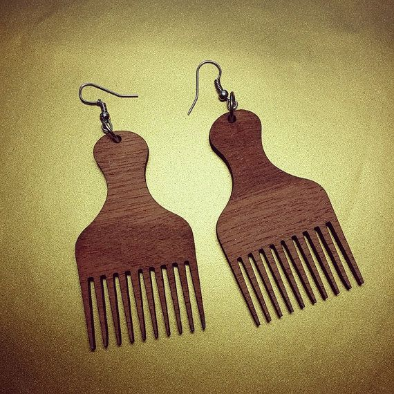 Afro Hair Pick Earrings