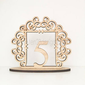 Clayton Scroll Design Free Standing Wedding Table Numbers