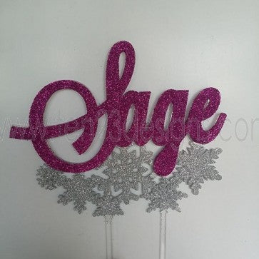 Personalized Snowflake Cake Topper