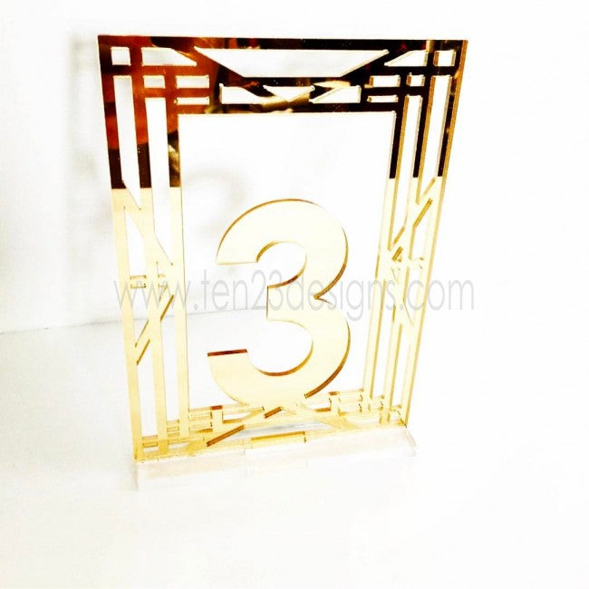 Gatsby Inspired Art Deco Free Standing Wedding Table Numbers