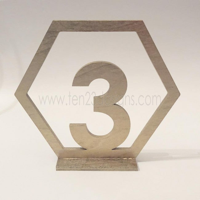 Hexagon Design Wood Free Standing Wedding Table Numbers