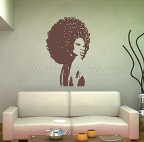 Extra Large Beautiful Afro Chic Women Vinyl Wall Decal