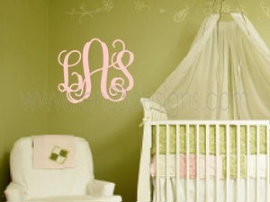 3 Initial Monogram Wall Decal