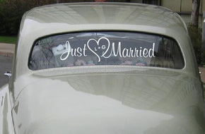 Just Married with Personalized Heart- Wedding - Removable decal
