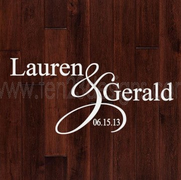 Bickerstyle Personalized Wedding Monogram Dance Floor Decal