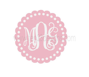 Personalized Scallop Monogram Polka Dots Border - vinyl wall decal
