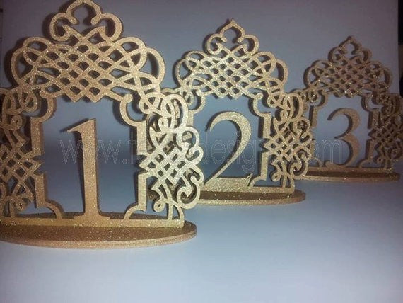 Scroll Design Wood Free Standing Wedding Table Numbers