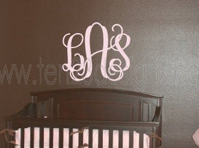 Large 3 Initial Interlocking Monogram Wall Decal