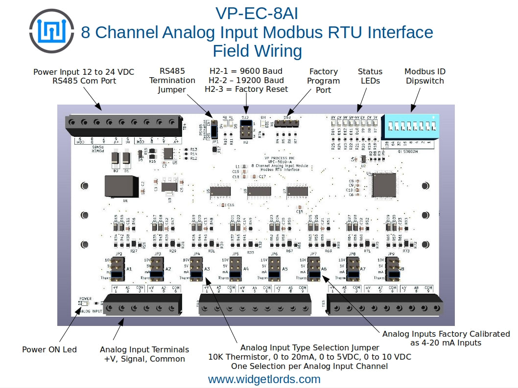 8 Channel Analog Input RS485 Modbus RTU Interface