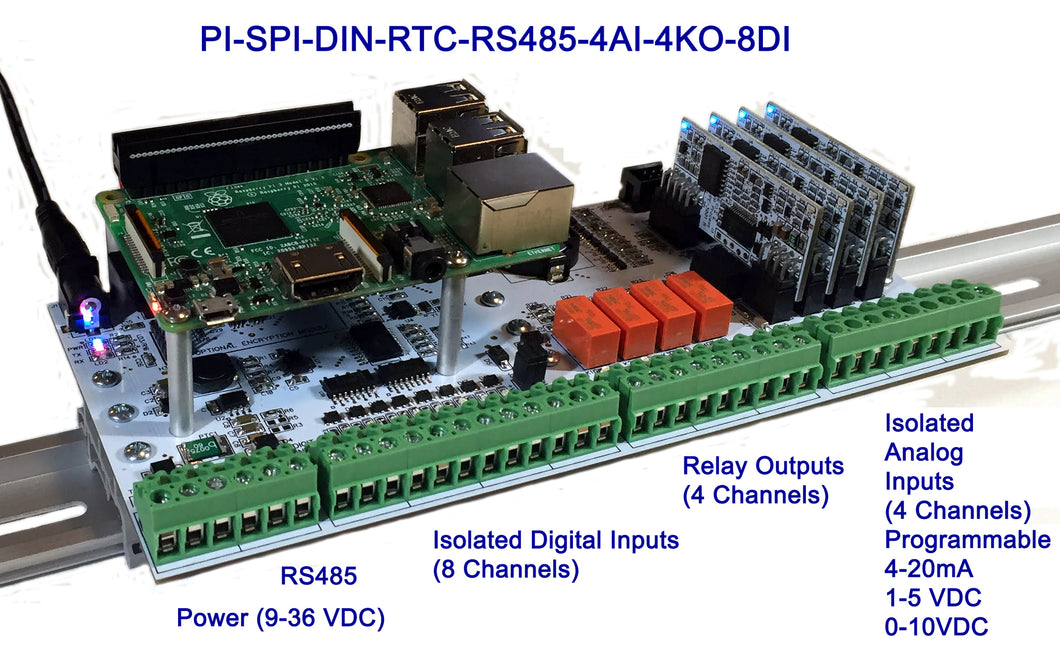 PI-SPI-DIN-RTC-RS485-4AI-4KO-8DI Raspberry Pi Interface