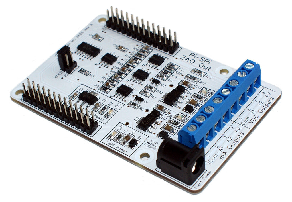 Pi-SPi-2A0 Raspberry Pi Analog Output (mA + VDC) Interface