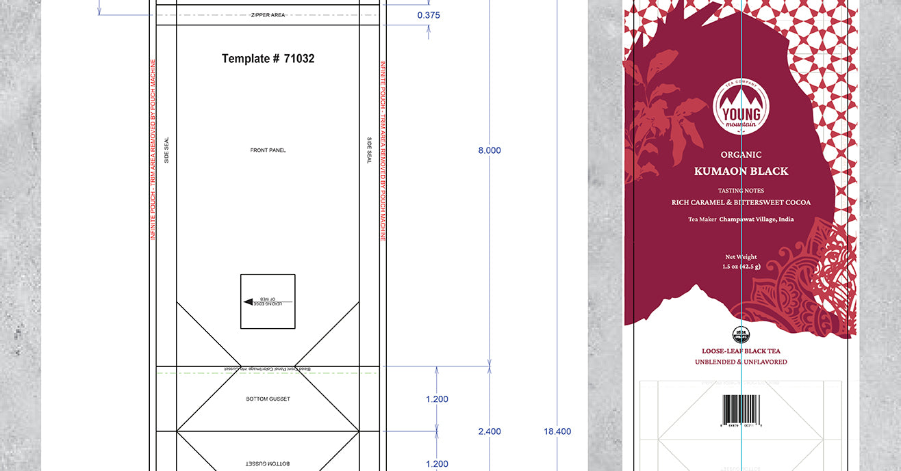 Screenshot of packaging design in process, with blank template next to artwork
