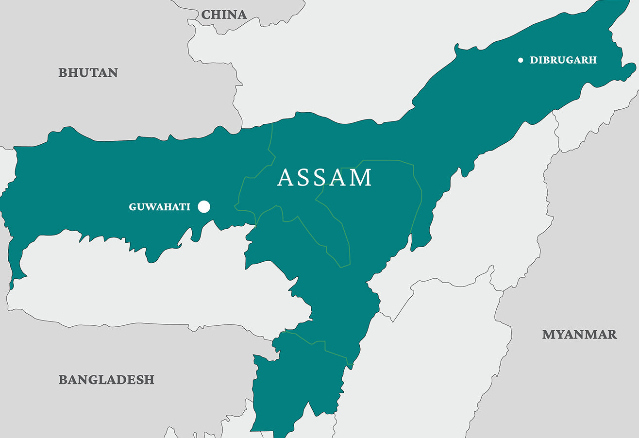 Map of the state of Assam in India