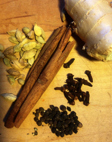 Young Mountain Tea Chai Tea ingredients: cardamom, ginger, cloves, black pepper and cinnamon
