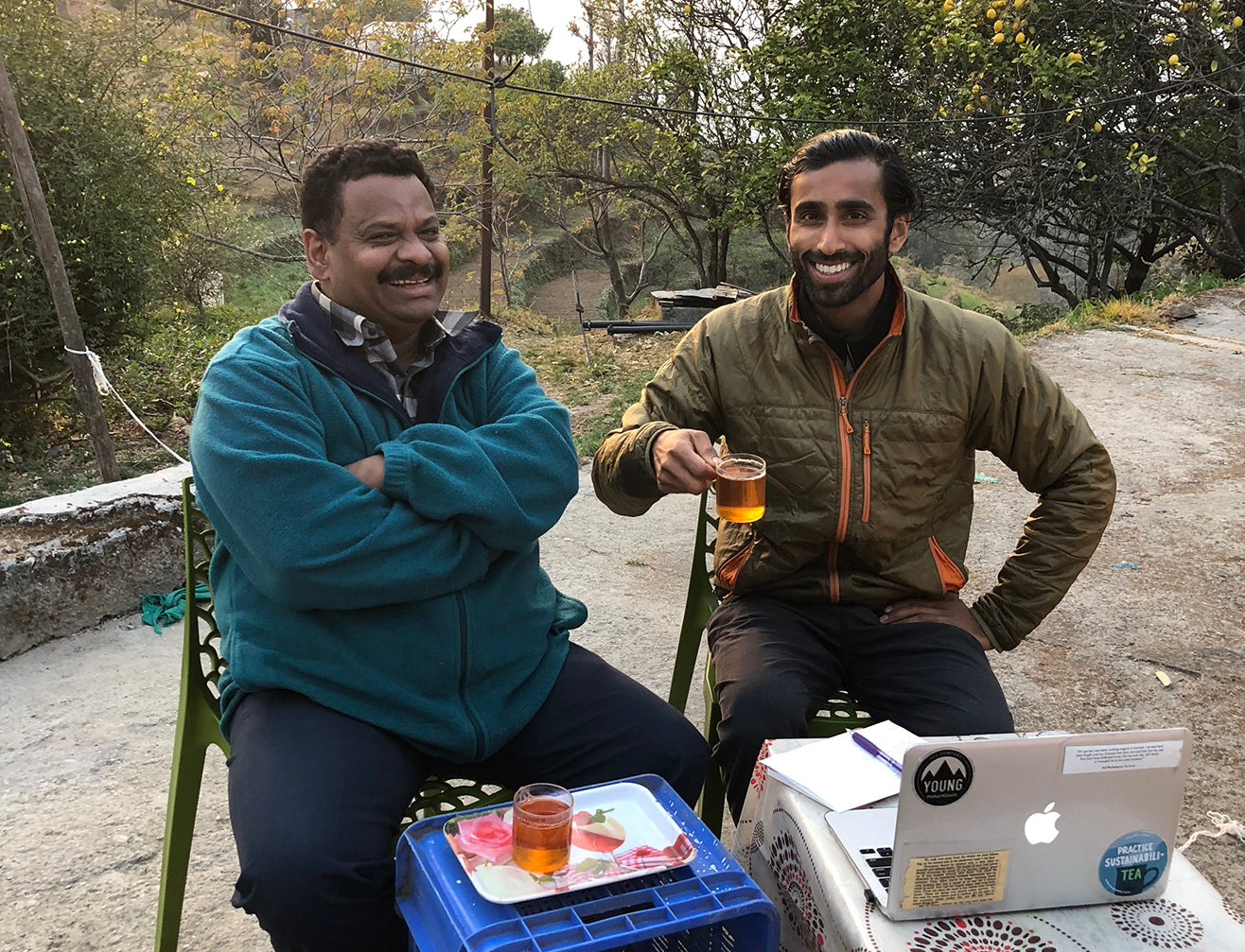Desmond Birbeck and Raj Vable enjoy tea together at Desmond's home in Kumaon, India