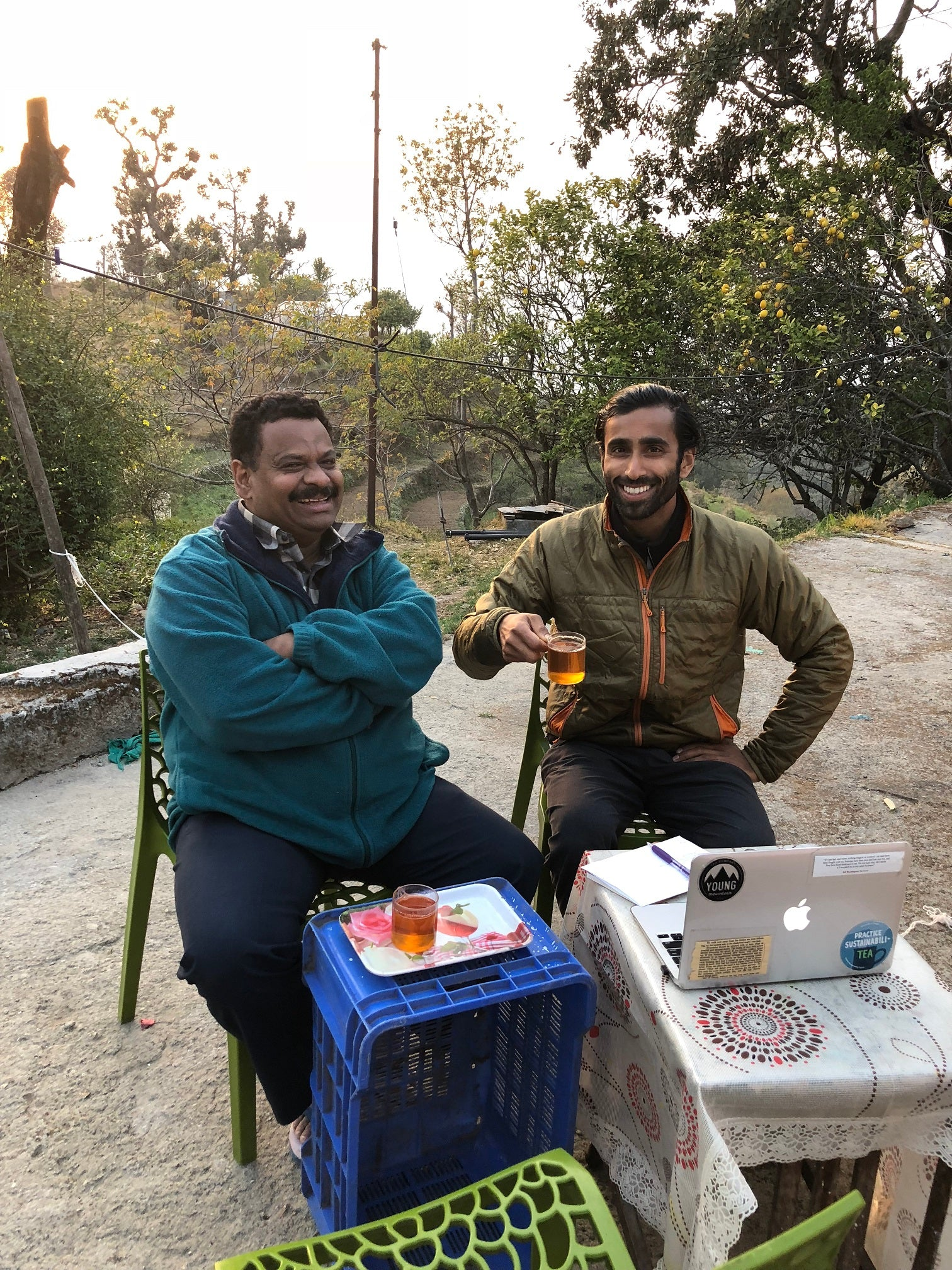 Desmond and Raj drinking tea in Kumaon India, Young Mountain Tea
