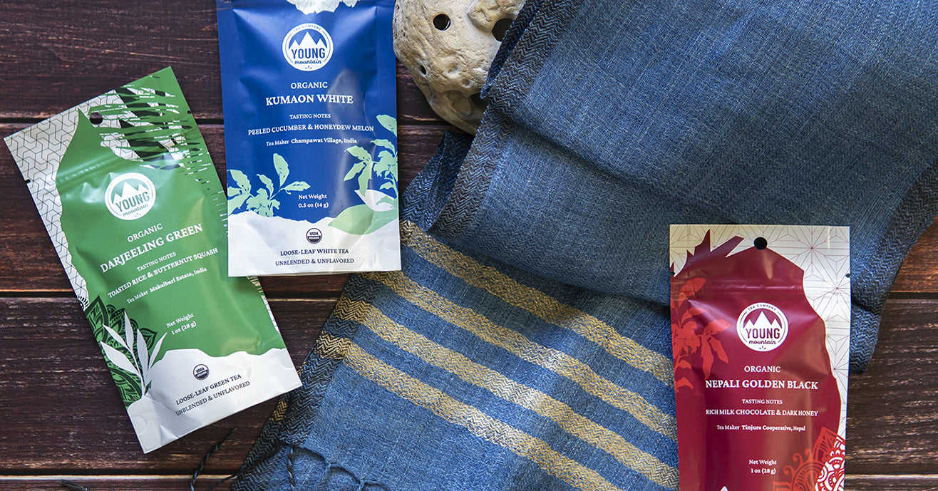 From Himalayas with love gift set Young Mountain Tea 3 small tea cylinders and a handmade scarf