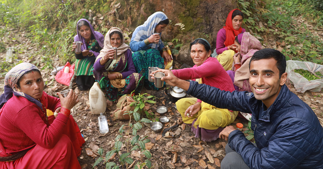 Founder, Raj Vable, Enjoys Chai in the Fields with Kumaon tea pickers