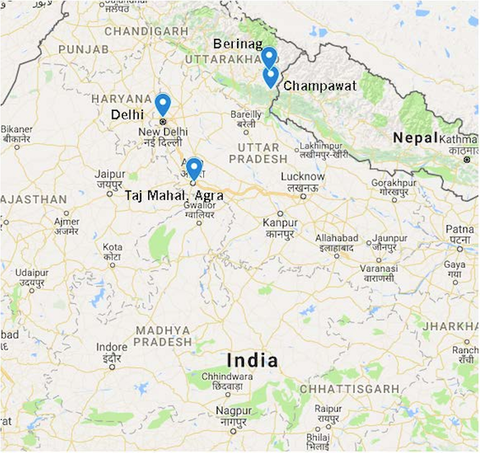 Destinations on google maps that the 2019 Kumaon tour will visit.
