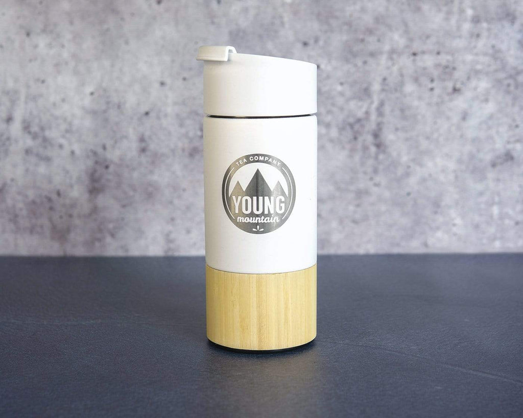Young Mountain Tea Gifts Travel Tea Tumbler with Infuser, Vacuum-Insulated (12 oz)