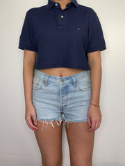 Navy Cropped Tommy Hilfiger Polo