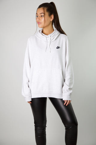 Nike Light Grey Embroidered Logo Hoodie