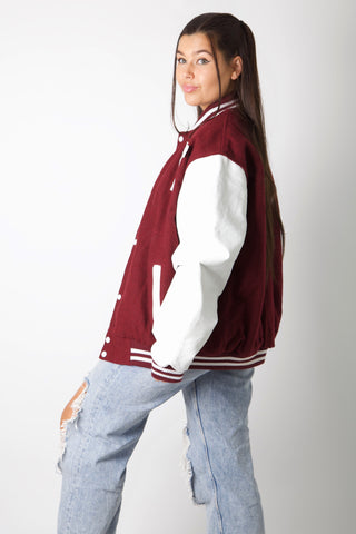 Bordeaux Y Varsity Jacket