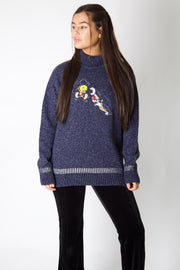Tweety & Sylvester Embroidery Knit Jumper