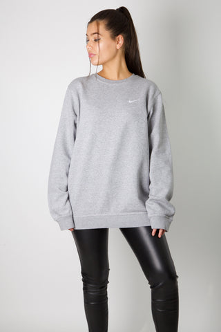 Nike Grey Embroidered Swoosh Crewneck